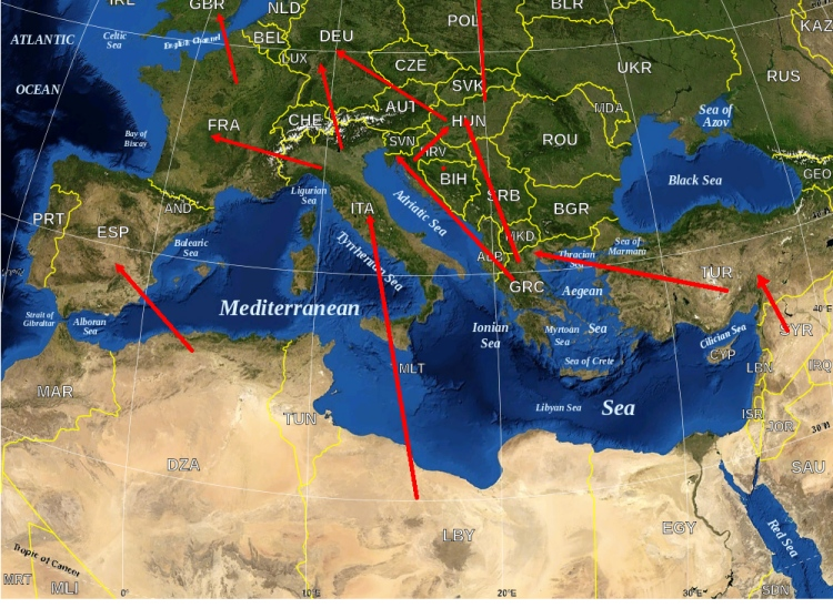 Refugee crisis migration map from Syria and North Africa into Europe