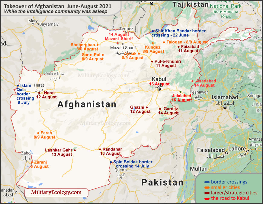 Map - The takeover of Afghanistan, June-August 2021